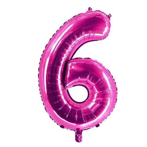 Party Factory Globo de helio XXL con el número 6, 100 cm, color rosa, para cumpleaños, Abi, aniversario, fiesta, decoración