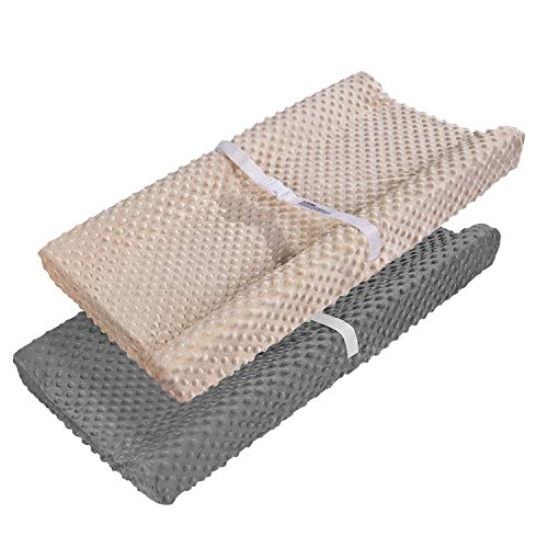 Changing Table Pad Cover, AceMommy Ultra Soft Minky Dots Plush Changing Pad Covers for Baby Boy & Girl Breathable Changing Table Sheets Wipeable Diaper Changing Pad Cover Brown&Grey (2 Pack)