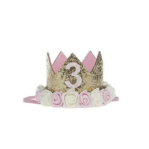 プリンセスクラウン 綺麗 可愛い バースデークラウン 誕生日 バースデー ミニフェルト 王冠 1歳 2歳 3歳 シール付け ハーフバースデー ハッピーバースデイー 小さい王女 誕生日のプレゼント 出産の祝い 100日祝い ゴムバンド 撮影 記念写真 (3歳)