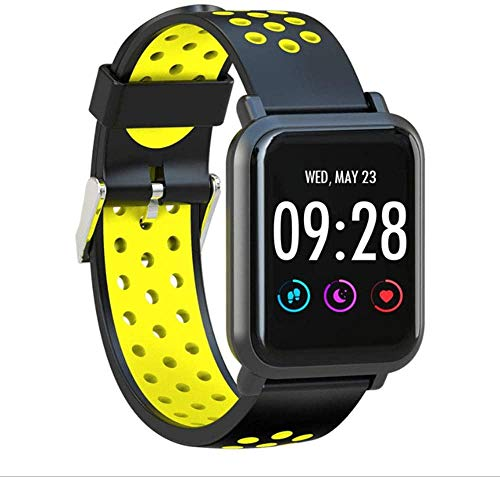 Pulsera de actividad física con monitor de frecuencia cardíaca, impermeable, inteligente, contador de pasos, contador de calorías, podómetro, reloj para niños, mujeres, hombres, amarillo