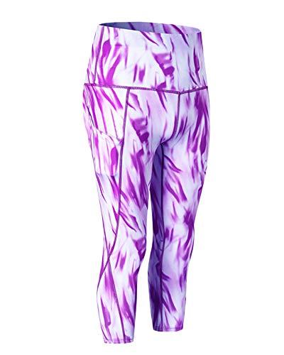 Femme Pantalon Mince Leggings Sport Courir 3/4 Collants Gym Jogging Pantalon Haute Taille Violet S