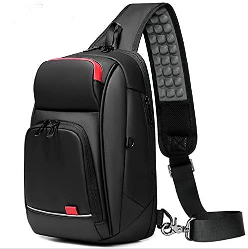 SUNTIRC Bolso de hombro inteligente para hombre, pequeño bolso bandolera tipo bandolera, bolso de pecho cruzado repelente al agua, con puerto de carga USB Bolso de viaje impermeable