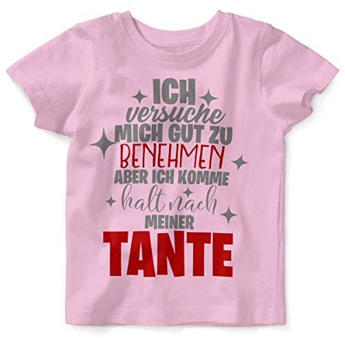 Mikalino Baby/Kinder T-Shirt mit Spruch für Jungen Mädchen Unisex Kurzarm Ich versuche Mich gut zu benehmen | handbedruckt in Deutschland | Handmade with Love, Farbe:rosa, Grösse:92/98
