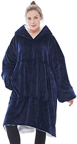 KISSAI Oversized Hoodie Blanket Sweatshirt, The Original Sherpa Giant Pullover with Large Front Pocket, Soft Cosy Warm Novelty Hoodies, Blue
