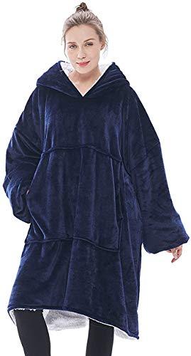 KISSAI The Original Sherpa - Sudadera con capucha de gran tamaño, con bolsillo frontal grande, suave, acogedora y cálida, color azul