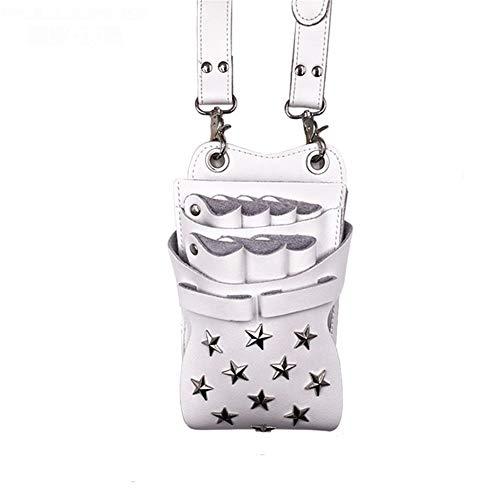 JenLn Friseur Hüfttasche Personalisierte Friseurwerkzeuggürteltasche Leder Große Kapazitäts-Multifunktionsgürteltasche Salon-Speicher-Beutel (Color : White, Size : 21CMx12CM)