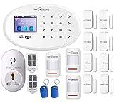 Allarme GSM WiFi set completo rilevatore di movimento, contatti per porte e finestre 1 sensore temperatura 1 presa Smart telecomando app carte RFID