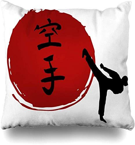 Fodera per cuscino da tiro Karate marziale asiatico su astratto Sport Samurai Ricreazione Kimono Formazione Aikido Antica decorazione per la casa Cuscino per divano Federa, 45X45 cm