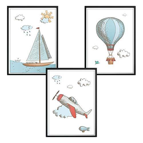 Juego de 3 pósteres DIN A4 para habitación infantil y marcos de fotos, pósteres para niños, imágenes para habitación de bebé, imágenes para bebés, decoración para habitación infantil Maritim Bunt