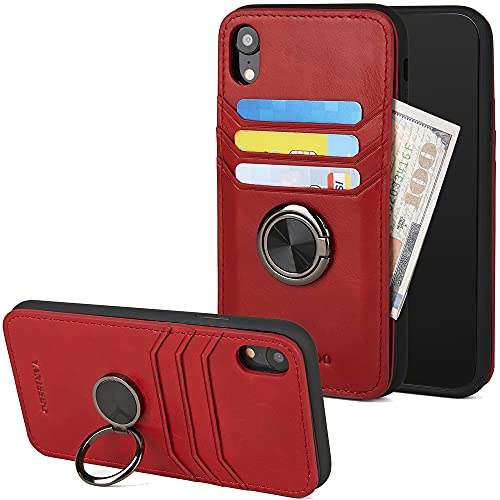 VANISSDO iPhone XR Genuine Leather Wallet Case for Men/Women with RFID Blocking, Ring Holder Kickstand, Grip for Magnetic Car Mount Card Holder - Wine Red