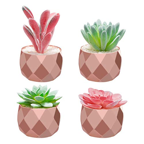 Artificial Potted Succulent Plants for Home Decor,4 Pieces of Various Fake Succulents in Mini Rose Gold Ceramic Pots for Desk, Office, Living Room, and Home Decoration