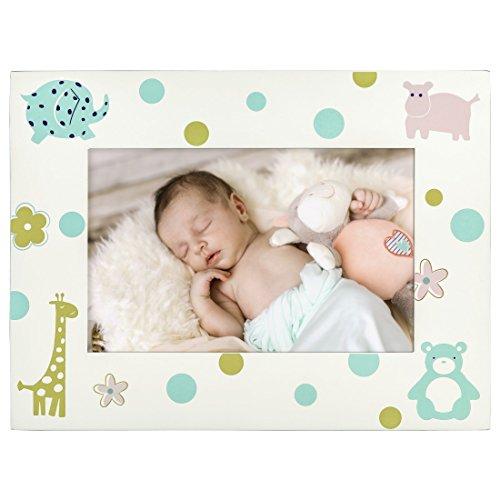 Hama Cornice portafoto per Bambini Nicki per Foto della Dimensione 10 x 15 cm (Cornice in Legno con Motivi di Animali, da appoggiare e da Appendere, in Vero Vetro), Bianco, legno;argento