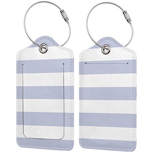 Etiquetas de equipaje de color sólido con diseño de rayas blancas, para...