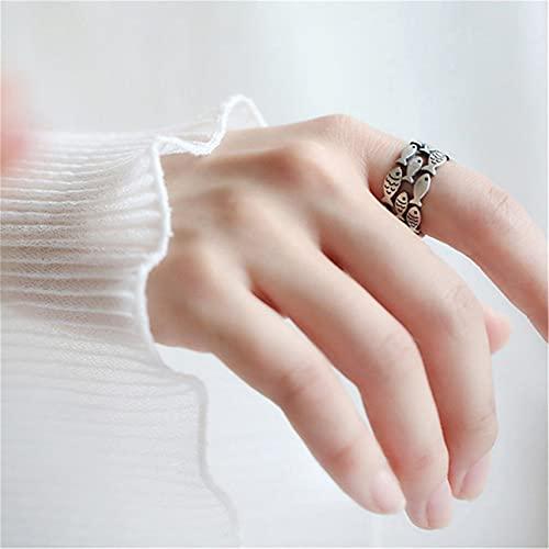 ZHAOQI Netter Fisch Ring Schwimmender Fisch Ring Öffnung Einstellbarer Fingerring Sterling Silber Inspirierender Ring Für Frauen