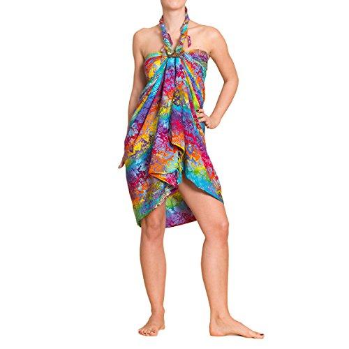 PANASIAM Sarong für Damen & Herren I 100% Handarbeit aus Indonesien - jedes Tuch ein Unikat I hochwertiger blickdichter Wickelrock I Batik m. deutschen Textilfarben I Strandtuch B009 Bunt