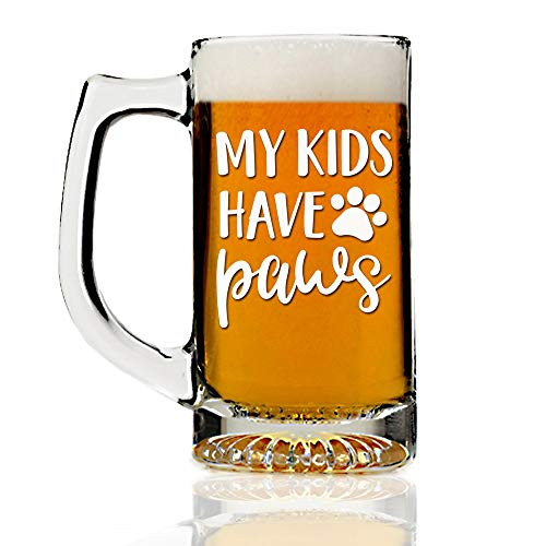 My Kids Have Paws Dog Theme 13oz Beer Mug Glass - Engraved Beer Mug Glass Gift