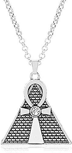 Collar de moda Pirámide egipcia antigua Cruz colgante Collar de cadena Collares de aleación de diamantes de imitación para hombres y mujeres Joyería con dijes para mujeres y hombres Regalos