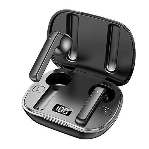 LTLJX Auriculares Inalámbricos Bluetooth Control Táctil Cascos In Ear Sonido Estéreo 3D HD Micrófono Incorporado Caja de Carga con Indicador de Potencia para iPhone Xiaomi Huawei Android,Negro