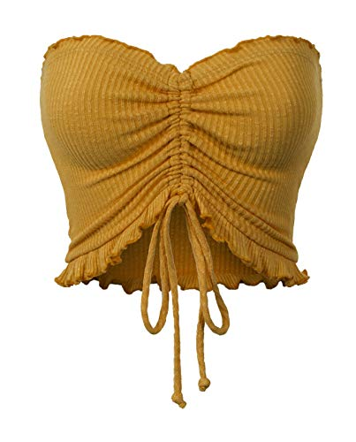 MixMatchy Women's Sexy Frill Knot Front Knit Strapless Tube Crop Top Mustard S