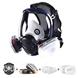 15 in 1 Full Face Respirator with Filters Widely Used in Organic Gas,Paint Sprayer, Chemical, Dust Protector (1 6800 respirator、2 6001 Organic Vapor Cartridge、10 Cotton Filter、2 501 Filter Cover)
