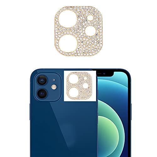 Best Shopper - Glitter Rhinestone Camera Lens Film Protective Case Lens Protector For Apple iPhone 12 Mini - Gold
