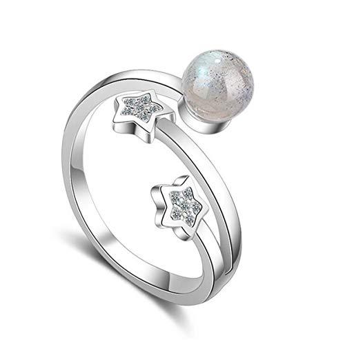 Damesringen 925 zilver maansteen ster gepersonaliseerde nagelring opening verstelbare allergenenvrij, memoir ringen/kerstgeschenk voor vrouwen meisjes