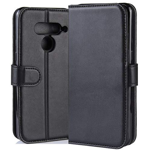 HualuBro LG V50 ThinQ 5G Hülle, Leder Brieftasche Etui LederHülle Tasche Schutzhülle HandyHülle [Standfunktion] Handytasche Leather Wallet Flip Hülle Cover für LG V50 ThinQ 5G 2019 - Schwarz
