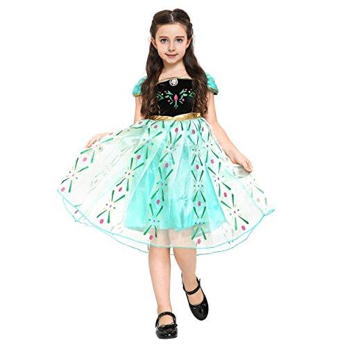 Katara 110 - Disfraz de la reina del hielo Elsa, color verde/turquesa, talla 134/140 (talla del fabricante: 150)