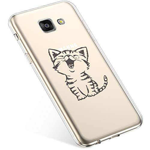 Uposao Funda compatible con Samsung Galaxy A5 2016, funda de teléfono móvil, ultrafina, suave silicona, funda transparente de TPU, carcasa blanda, diseño de gato sonriente