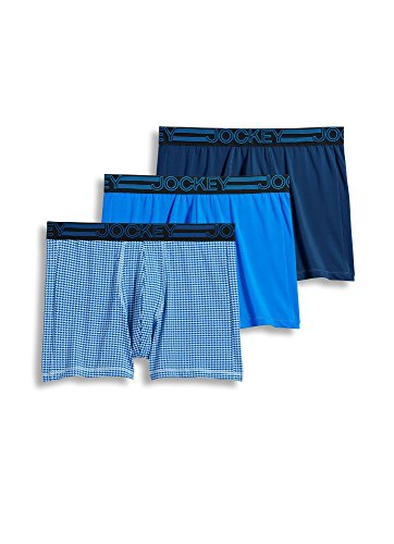 Jockey Men's Underwear Active Microfiber Boxer Brief - 3 Pack, just Past Midnight/Spikey geo/Outrageous Blue, XL