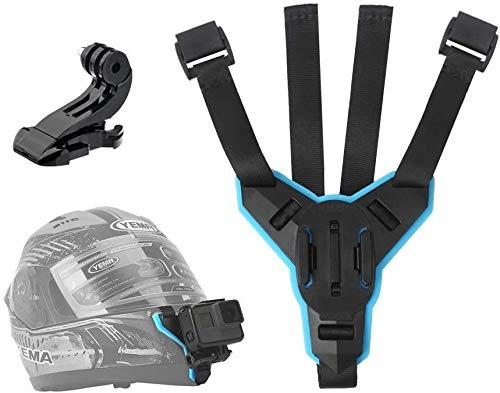 Telesin Motorradhelm-Gurt-Halterung am Kinn für GoPro Hero 2018 / 6 / 5 / 4 / 3, Session, SJCAM, AKASO, Campark, Polaroid, Osmo Action, YI Action-Cam, gebogene Helmhalterung