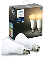 Philips Hue White Ambiance Smart Bulb Twin Pack LED [B22 Bayonet Cap] with Bluetooth, Compatible with Alexa and Google...