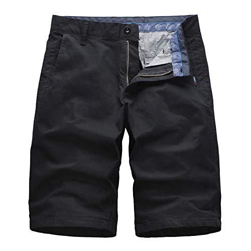 Hiking Pantalones Cortos Camuflaje Ligeros y Sueltos con Bolsillos con Cremallera y Cinturilla elástica con cordónPantalón Recto de algodón Puro-Negro_30