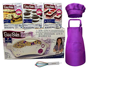 Easy Bake Ultimate Oven Bundle Baking Star Edition+ Larger Size 13.8 Oz. Easy Bake 3-Pack Refill Mixes (Pizza, Whoopie Pies and Red Velvet & Strawberry Cakes)+ Mini Whisk+ Hat and Apron