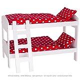 Goki 51552 Puppen-Etagenbett mit Leiter, weiß/rot