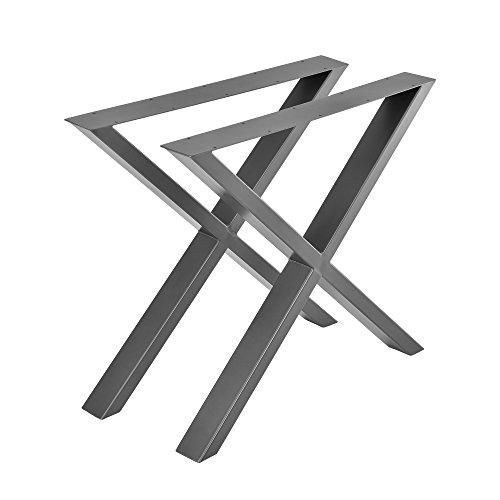 [en.casa] 2X Tischgestell 79x72cm DIY Tisch Tischkufen X-Gestell Stahlgrau Stahl