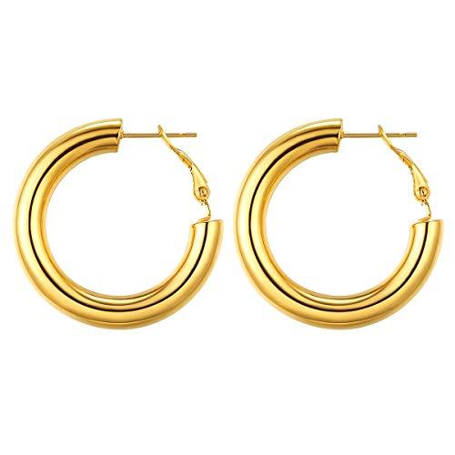 FOCALOOK Hoops Ohrringe Damen 30mm Kreis Form Creolen Gold überzogen groß Statement Kreolen Ohrringe trendig Schmuck Accessoire für Frauen Mädchen Alltagskleidung Abendkleid