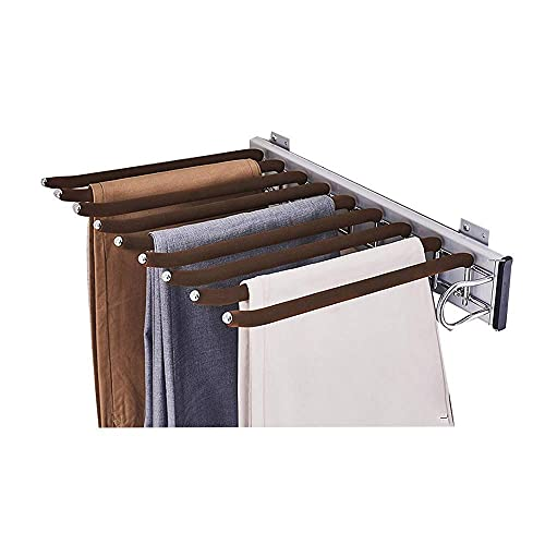Économie de cintres, porte-pantalon coulissant pour placard monté sur le côté, porte-pantalon extensible, porte-cravate cintre extensible 8 bras cintres de pantalon, cadre en alliage d'aluminium
