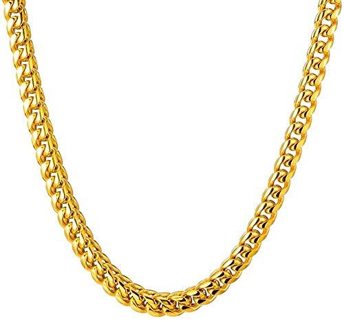 NC190 Collar de Cadena de Cuerda de Oro de Acero Inoxidable de 8 mm de Ancho de Hip Hop, Collar Trenzado de Acero Inoxidable 316l para Hombres, joyería