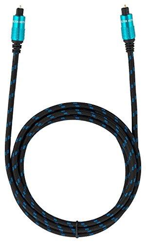 Ultra HDTV Premium Toslink Kabel 2 Meter - Optisches Audiokabel Digitalkabel mit Knickschutz Nylon-Mantel, Zugentlastung und Vollmetall Steckern mit Perfekter Passgenauigkeit (inkl. Schutzkappen)
