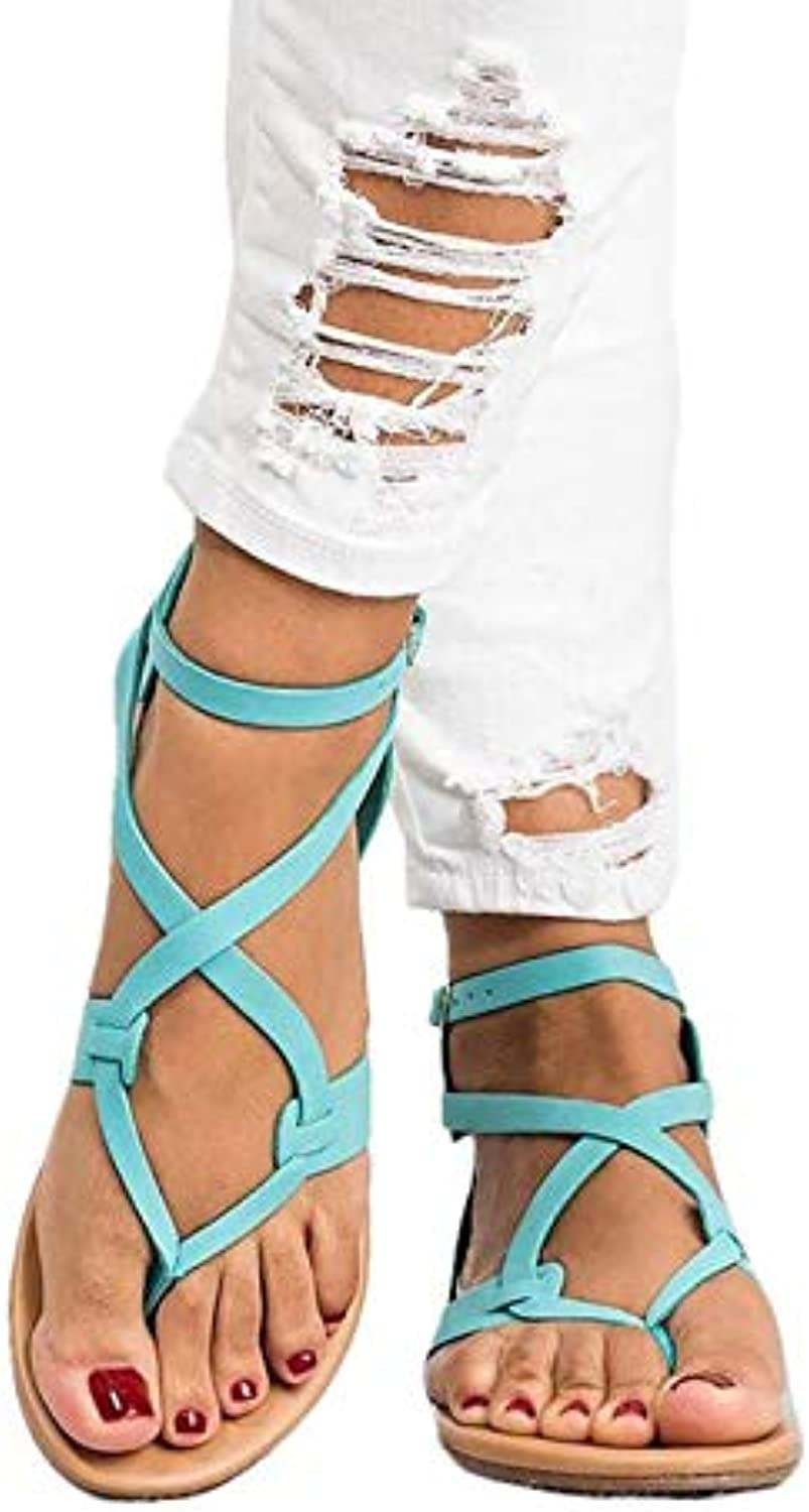 JOYBI Womens Gladiator Strappy Flat Sandals Ankle Strap Lace Up Criss Cross-Tied Slip On Buckle Open Toe Sandal