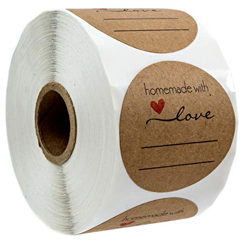 """2"""" Homemade with Love Sticker with Lines for Writing /2"""" Round Homemade with Love Canning Labels / 500 Labels per roll"""