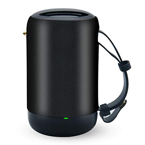 Tragbarer Outdoor Lautsprecher Bluetooth 5.0 Klein Radio Musikbox mit TWS/Stereo/IPX6 Wasserdicht/12 St-Laufzeit für USB/TF/FM/SD-Karte für Party Zuhause Strand Reisen von VENNERLI (Schwarz)