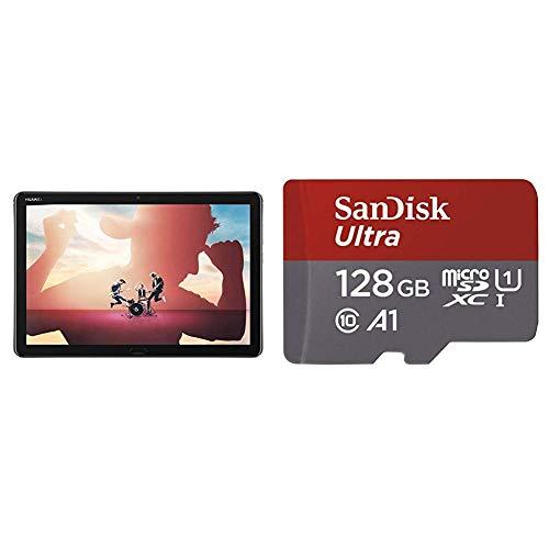 Huawei MediaPad M5 Lite 10 - Tablet de 10.1' Full HD Color Gris + SanDisk Ultra - Tarjeta de Memoria microSDXC de 128 GB con Adaptador SD, Velocidad de Lectura hasta 100 MB/s, Clase 10, U1 y A1