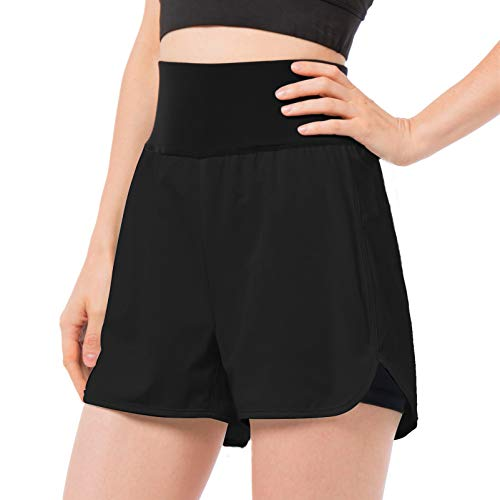 REYSHIONWA Women's Workout Running Shorts Athletic Sport Shorts Double Layer Active Yoga Gym BikeShorts with Pockets 2 in 1 Black