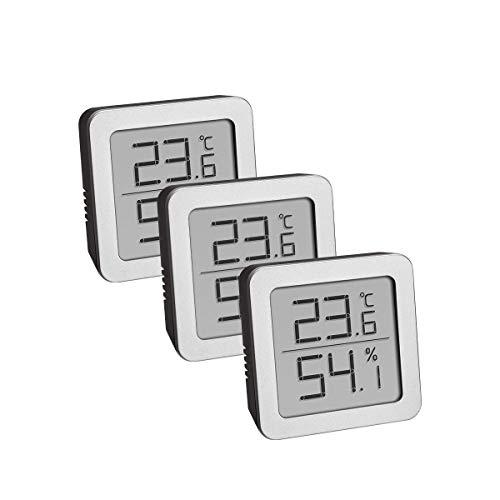 TFA Dostmann 3-Set Hygrometer digital innen, 95.2019.54, zur Luftfeuchtigkeitsmessung und Temperaturmessung, mit flexiblem magnetischen Halter, schwarz-Silber, L90 x B70 x H115 mm