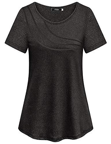 iClosam Damen T-Shirt Schnell Trocken Fitness Yoga Top Laufen Funktionsshirt (Schwarz-2, L)