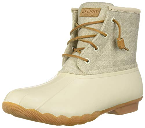 Sperry Womens Saltwater Emboss Wool Boots, Off White, 7.5