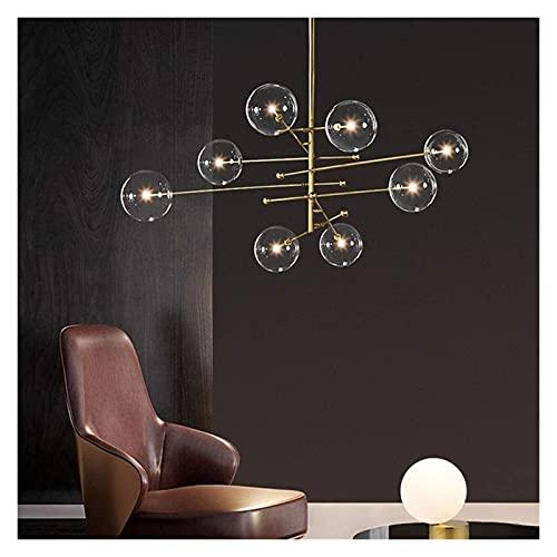 FHUA Lámpara de Techo Golden Nordic Modern Luxury Glass Ball Chandelier Moda Simple LED Lámpara de Techo Luz cálida Decoración del hogar Sala de Estar Comedor 120 * 120 * 115cm
