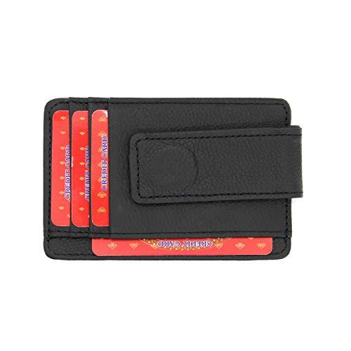 Portafoglio porta carte Fermasoldi uomo magnetico slim sottile in vera pelle cuoio porta banconote portafoglio ferma banconote con clip idea regalo (Nero)